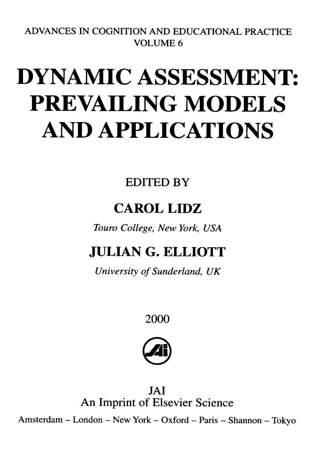 Dynamic Assessment Prevailing Models And Application